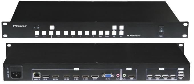 Black Color Video 4K Multi Viewer KVM For Supporting Multiple Sources